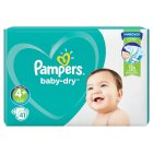 Pampers baby-dry nappies, size 4+, maxi plus, 9-20kg - 41s