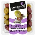 Unearthed black pepper & rosemary olives - 250g