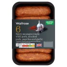 Waitrose 6 British pork & paprika sausages - 400g