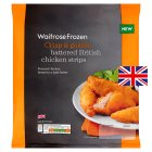 Waitrose Battered British Chicken Strips - 400g