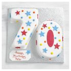 70th Birthday stars and dots cake - each