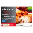 Waitrose frozen 2 line caught battered haddock fillets - 300g