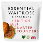 essential Waitrose 4 quarter pounders 100% British beef - 454g