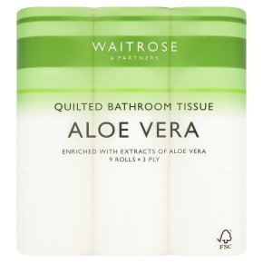 Waitrose Aloe Vera toilet tissue, pack of 9 rolls