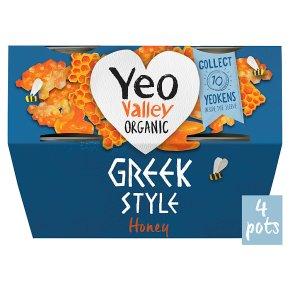 Yeo Valley 4 organic Greek style with honey yogurts
