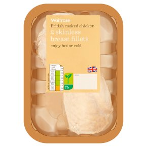 Waitrose 2 British cooked chicken breast fillets