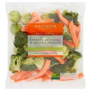 Waitrose Prepared Carrots Broccoli & Sprouts