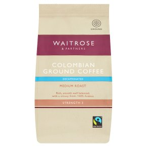 Waitrose Colombian Decaffeinated Roast & Ground Cafetiere Coffee