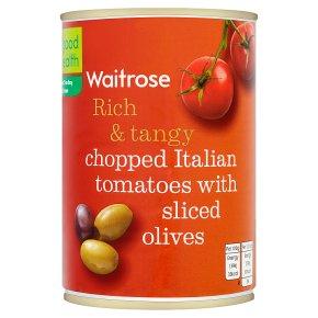 Waitrose chopped tomatoes with sliced olives