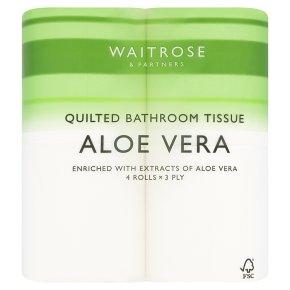 Waitrose aloe vera white toilet tissue, pack of 4 rolls