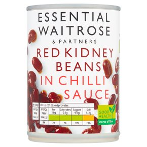 essential Waitrose canned red kidney beans in chilli sauce