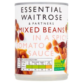 essential Waitrose Mixed Beans in a Spicy Tomato Sauce