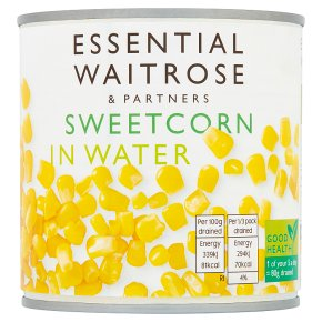 essential Waitrose canned sweetcorn in water naturally sweet