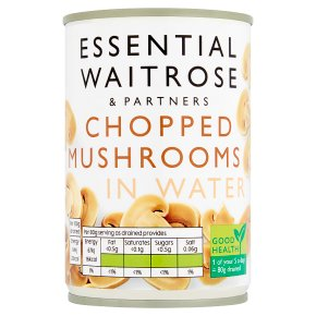 essential Waitrose canned chopped mushrooms
