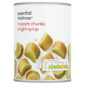 essential Waitrose rhubarb chunks in light syrup