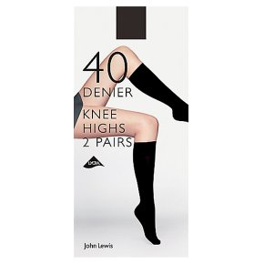 John Lewis 40 denier black knee high tights, pack of 2