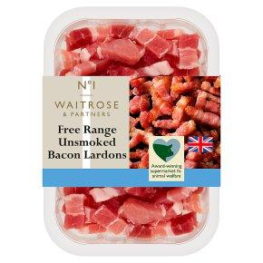 Waitrose 1 free range air dried unsmoked bacon lardons
