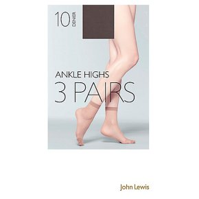 John Lewis 10 denier nude ankle high tights, pack of 3