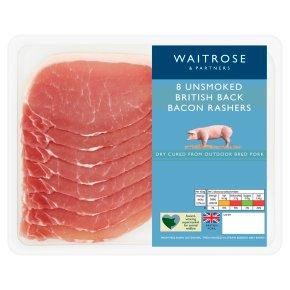 Waitrose unsmoked British back bacon, 8 rashers