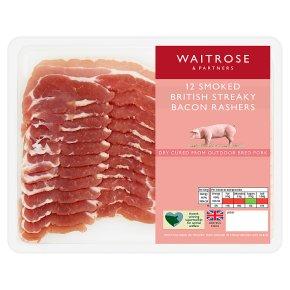 Waitrose Dry Cured Smoked Streaky Bacon 12 Rashers