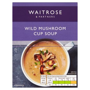 Waitrose Thick & Creamy mushroom & Madeira soup in a cup, 4 servings