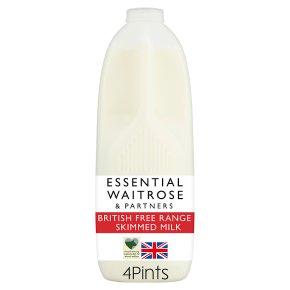 essential Waitrose skimmed milk 0.1% fat 4 pints