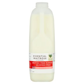 essential Waitrose skimmed milk 0.1% fat 2 pints