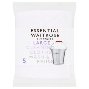 essential Waitrose large cleaning cloths, pack of 5