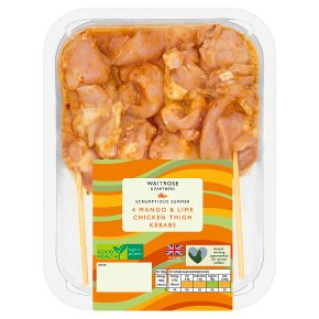 Waitrose 4 Mango & Lime Chicken Thigh Kebabs