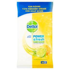 Dettol Power & Fresh Floor cleaning wipes, citrus zest