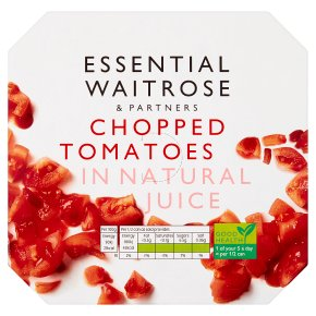 essential Waitrose tinned chopped tomatoes in natural juice, 4 pack