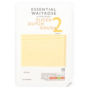 essential Waitrose Dutch gouda cheese, strength 2, 10 slices