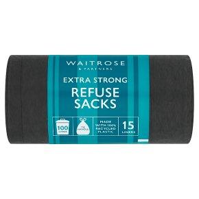 essential Waitrose large tie handle refuse sacks, 15 sacks