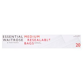 essential Waitrose reclosable bags, medium - roll of 20