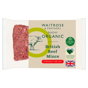 Waitrose Duchy Organic British lean beef mince, 10% fat