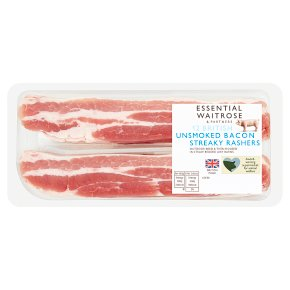 essential Waitrose unsmoked streaky bacon, 12 rashers