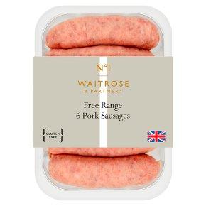 Waitrose 1 free range 6 pork sausages