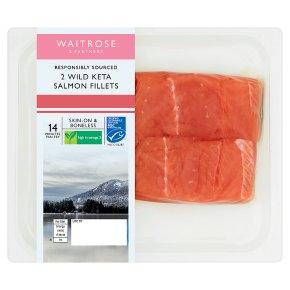 Waitrose 2 boneless wild Alaskan Keta salmon fillets