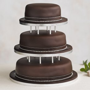 Soft Iced 3 Tier Chocolate Wedding Cake with Dowling , chocolate (all tiers)