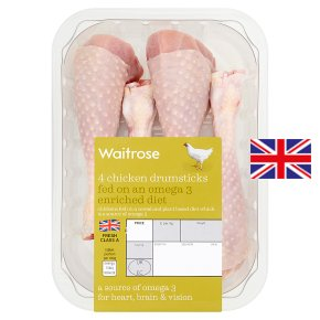 Waitrose Omega 3 chicken drumsticks, pack of 4