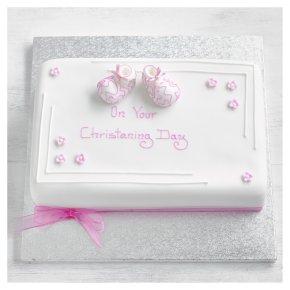 Pink Baby Booties Christening Cake - Sponge