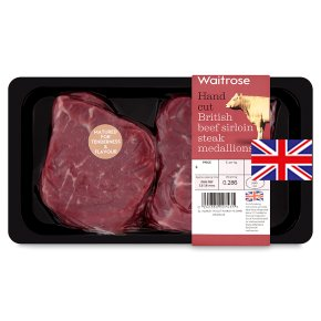 Waitrose 2 British beef hand cut sirloin steak medallions