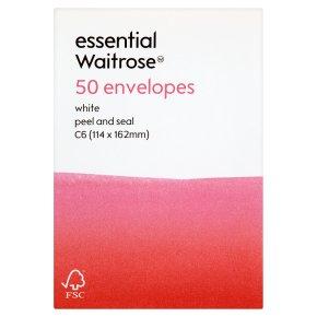 essential Waitrose C6 white envelopes, pack of 50