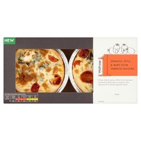 Waitrose 1 Spinach, Feta & Baby Plum Tomato Quiches