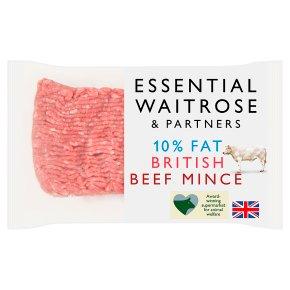 essential Waitrose British mince beef, 10% fat