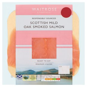 Waitrose mild Scottish smoked salmon minimum, 4 slices