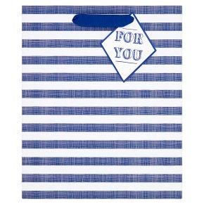 Waitrose Medium Blue Stripe Gift Bag