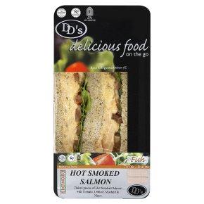 DD's hot smoked salmon sandwich