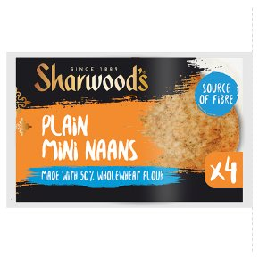 Sharwood Plain Mini Naans 50%Wholewheat