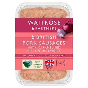 Waitrose 6 British Pork & Caramelised Red Onion Sausages